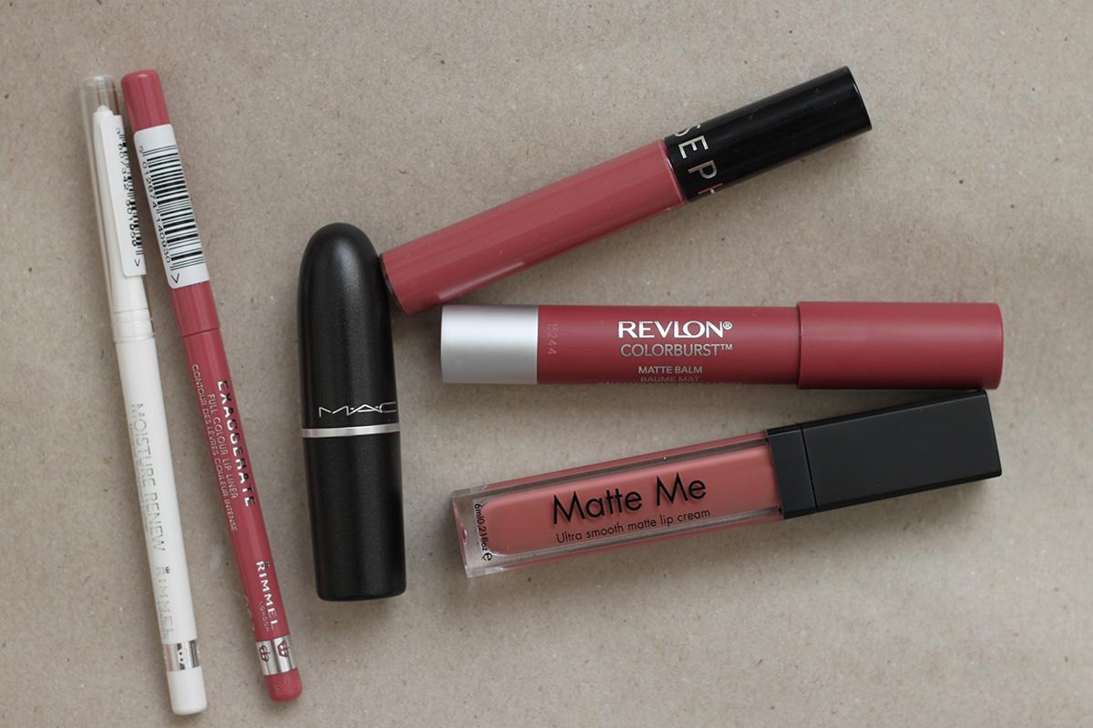 Lipsticks, lipliners, matte. Mac, Sleek, Revlon, Sephora, Rimmel